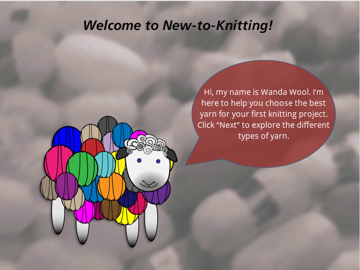 Cartoon sheep with multi-colored yarn balls in place of wool.